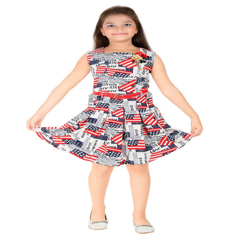 Mini Mini Girls Cotton Western Printed Red & White Frock