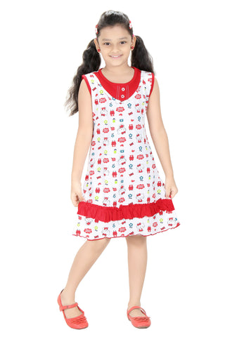 Girls Printed Cotton Slip By Red Rose