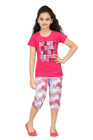 Girl's Cotton Top And Capri Night Suit By Red Ring