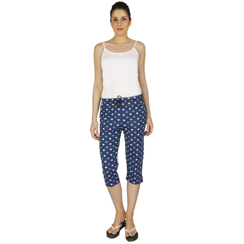 Red Ring Cotton Women's Capri