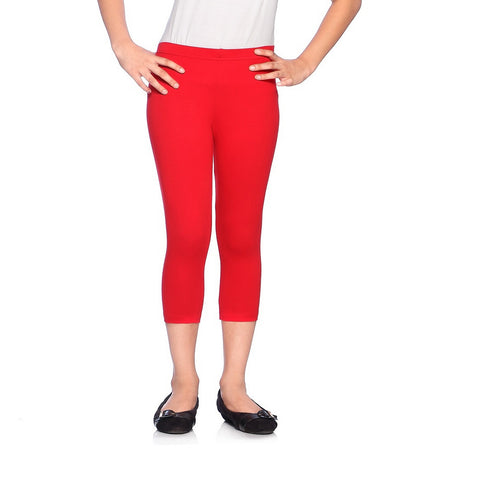 Red Ring Girl's 3/4th Length Cotton Capri Legging