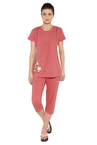Red Ring Women's Feeding Maternity Night Suit