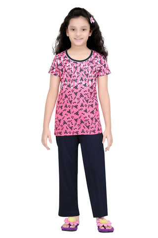 Girl's Cotton Top And Bottom Night Suit By Red Ring