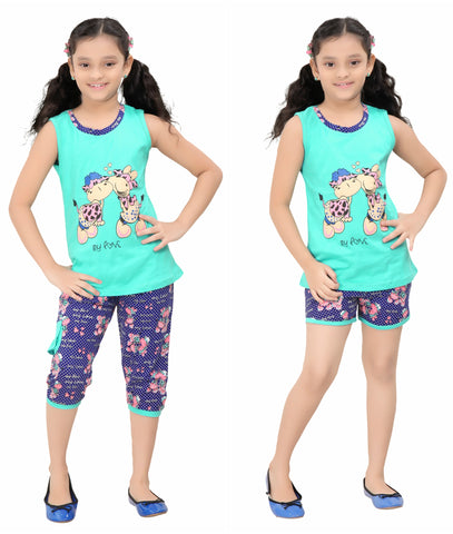 Girl's Night Suit Of 3 Pc. Top Capri & Shorts By Red Ring
