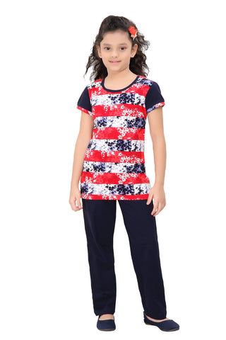 Girl's Cotton Night Suit By Red Ring