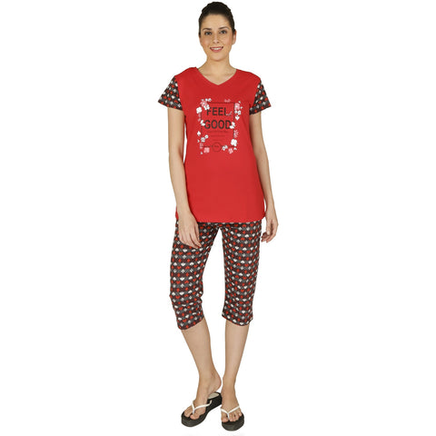 Red Ring Cotton Women's Night Suit