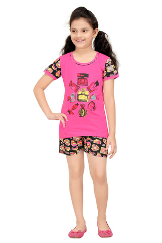 Girl's Cotton Top And Shorts Night Suit By Red Ring
