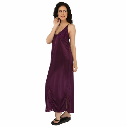 Sweet Heart Ladies Free Size Soft Silky Satin Nighty With Silky Robe