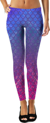 AKA Style Co. Mermaid Leggings w/ Fish Scales, Blue, Pink and Purple Print