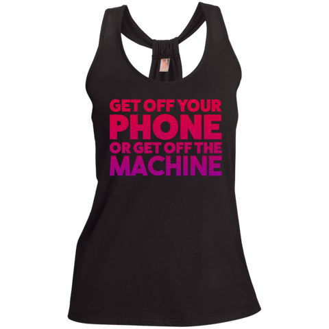 Get off your PHONE or get off the MACHINE Gym Tank Top or T-Shirt - Loop Back Tank / Black / Small - Workout Apparel - AKA Style Co - 1