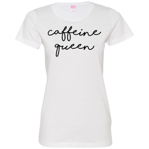 Caffeine Queen Ladies T-Shirt S-2XL - White / Small - T-Shirts - AKA Style Co - 1