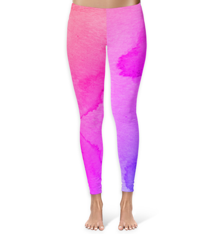 Pink and Purple Watercolor Leggings - XS - Leggings - AKA Style Co - 1