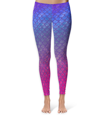 Blue, Pink & Purple Mermaid Leggings - XS / Purple - Leggings - AKA Style Co - 1