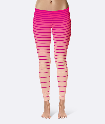 Pink Gradient Stripe Leggings - XS / Pink - Leggings - AKA Style Co - 1