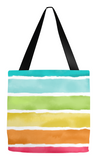 Rainbow Watercolor Stripes Tote Bag -  - Tote Bags - AKA Style Co - 1