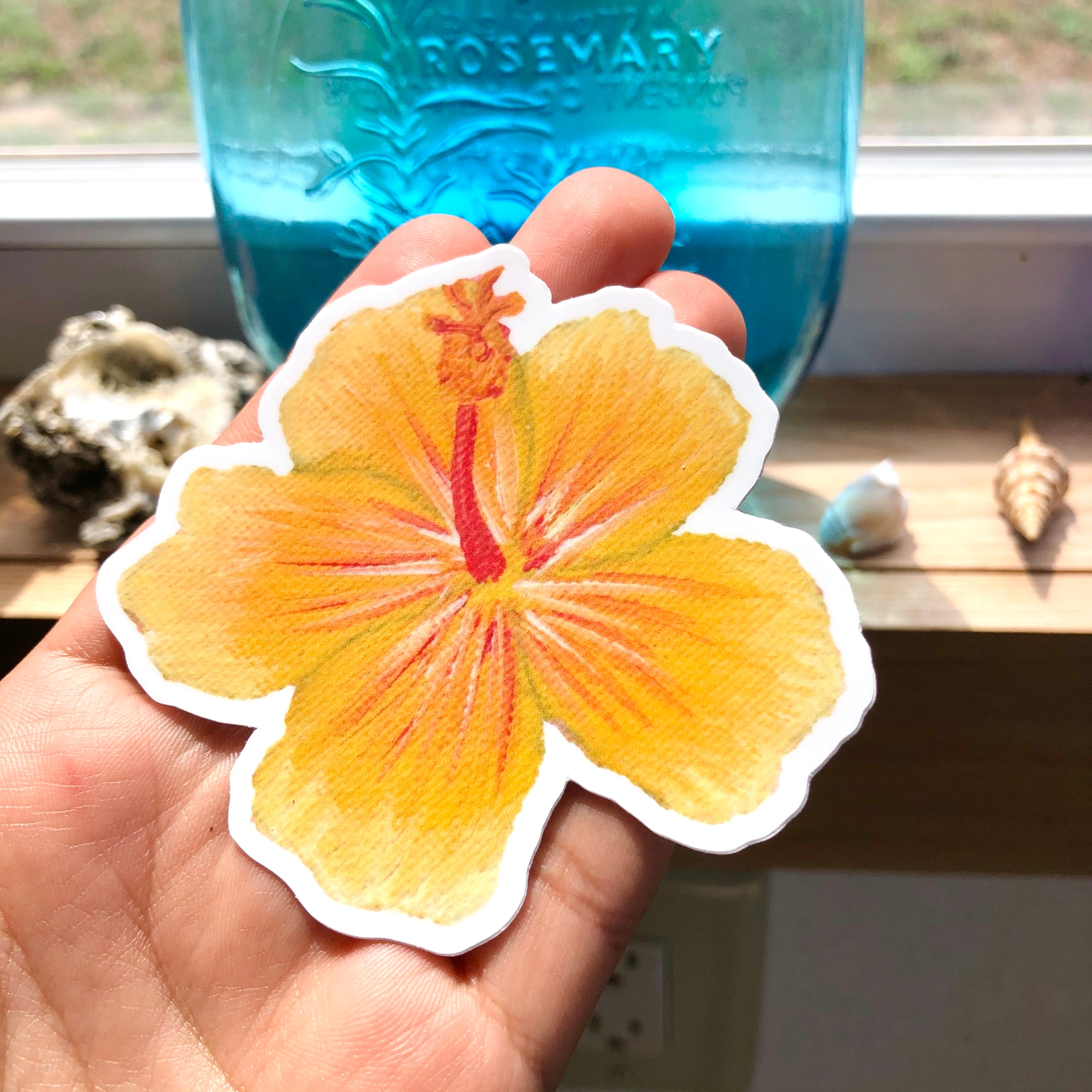 Hibiscus Flower Sticker - Yellow