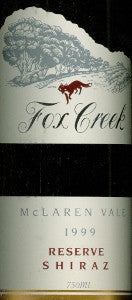 Fox Creek Reserve Shiraz 1999 750ml, McLaren Vale