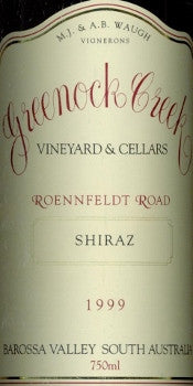 Greenock Creek Roennfeldt Road Shiraz 1999 750ml, Barossa Valley