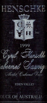 Henschke Cyril Cabernet Sauvignon 1999 750ml, Eden Valley