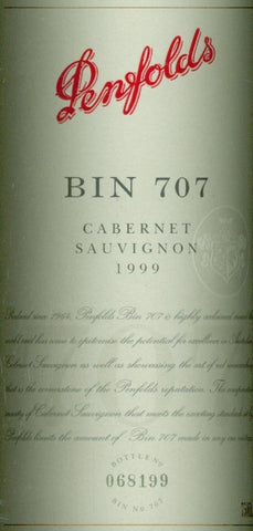 Penfolds Bin 707 Cabernet Sauvignon 1999 750ml, South Australia