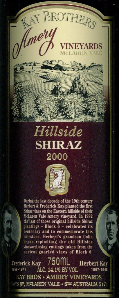 Kay Brothers Hillside Shiraz 2000 750ml, McLaren Vale