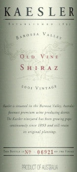 Kaesler Old Vine Shiraz 2001 750ml, Barossa Valley