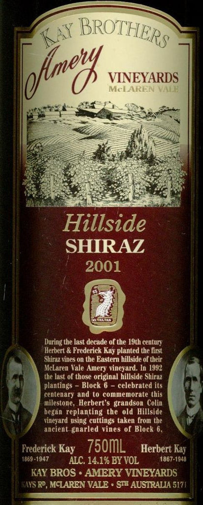 Kay Brothers Hillside Shiraz 2001 750ml, McLaren Vale