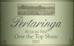 Pertaringa Over The Top Shiraz 2001 750ml, McLaren Vale