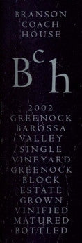 Branson Coach House Greenock Block Shiraz 2002 750ml, Barossa Valley