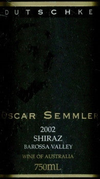 Dutschke Oscar Semmler Shiraz 2002 750ml, Barossa Valley