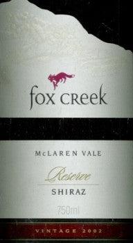 Fox Creek Reserve Shiraz 2002 750ml, McLaren Vale