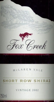 Fox Creek Short Row Shiraz 2002 750ml, McLaren Vale
