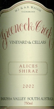 Greenock Creek Alice's Shiraz 2002 750ml, Barossa Valley
