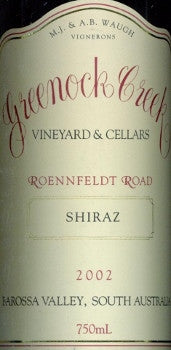 Greenock Creek Roennfeldt Road Shiraz 2002 750ml, Barossa Valley