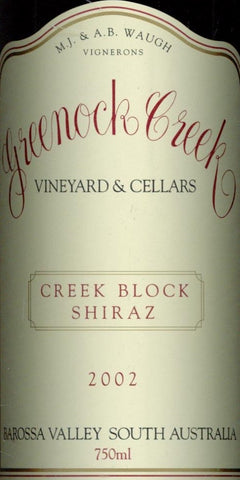 Greenock Creek Creek Block Shiraz 2002 750ml, Barossa Valley