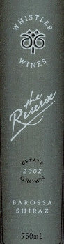 Whistler Reserve Shiraz 2002 750ml, Barossa Valley