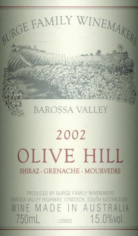Burge Family Olive Hill Shiraz Grenache Mourvedre 2002 750ml, Barossa Valley