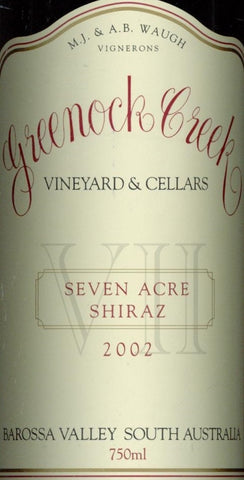 Greenock Creek Seven Acre Shiraz 2002 750ml, Barossa Valley