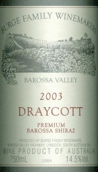 Burge Family Draycott Shiraz 2003 750ml, Barossa Valley
