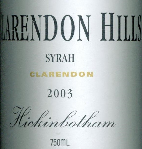 Clarendon Hills Hickinbotham Syrah 2003 750ml, McLaren Vale