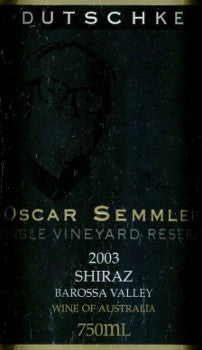 Dutschke Oscar Semmler Shiraz 2003 750ml, Barossa Valley