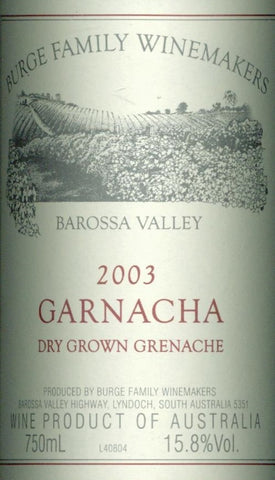 Burge Family Garnacha Grenache 2003 750ml, Barossa Valley