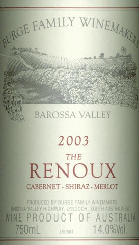 Burge Family The Renoux Cabernet Sauvignon Shiraz Merlot 2003 750ml, Barossa Valley