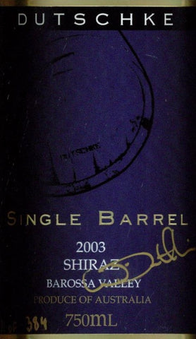 Dutschke Single Barrel Shiraz 2003 750ml, Barossa Valley