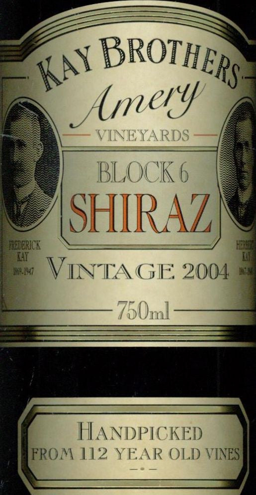 Kay Brothers Block 6 Shiraz 2004 750ml, McLaren Vale