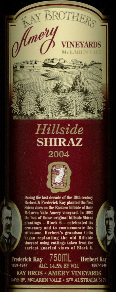 Kay Brothers Hillside Shiraz 2004 750ml, McLaren Vale
