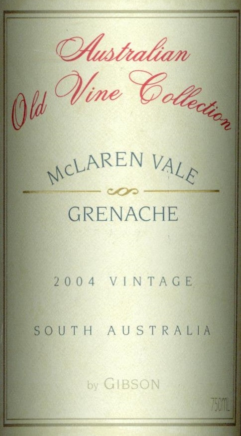 Gibson Australian Old Vine Collection Grenache 2004 750ml. Barossa Valley