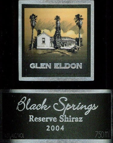 Glen Eldon Black Springs Reserve Shiraz 2004 750ml, Barossa Valley