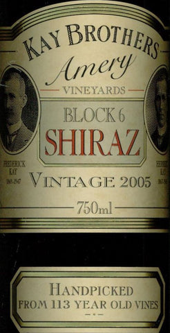 Kay Brothers Block 6 Shiraz 2005 750ml, McLaren Vale