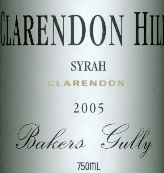 Clarendon Hills Bakers Gully Syrah 2005 750ml, McLaren Vale